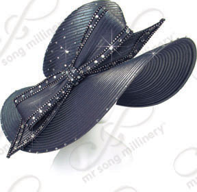 7 inch Wide Hat with Signature Bow Church Hats
